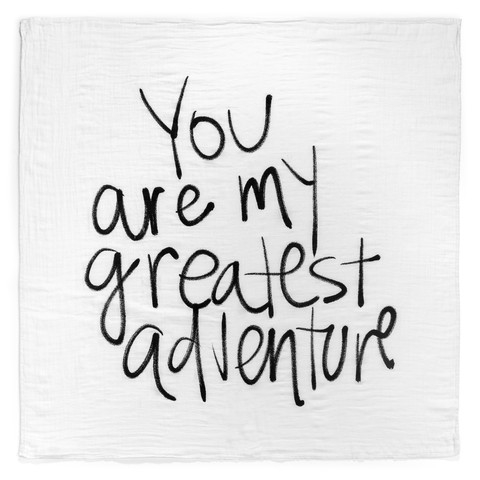 Modern Burlap - Stor stofble/swaddle med You are my greatest adventure